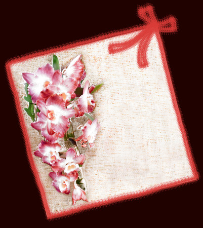 pink orchid: Greeting floral card  with pink orchid flowers ,ribbon and bow on purple background