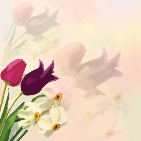 hazy: Greeting card with bouquet of tulips and narcissus on colorful hazy background