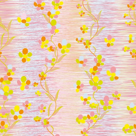 buttercups: Abstract colorful buttercups on grunge striped vertical  background in pastel colors in seamless composition