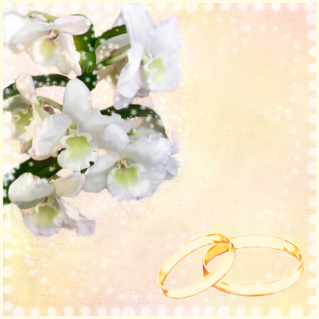 gold rings: Wedding floral card  with white orchid flowers and gold rings
