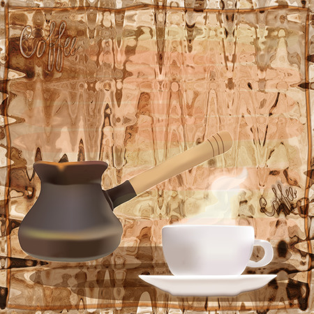 coffee pot: Coffee menu design with coffee pot and cup on grunge striped background with frame and title