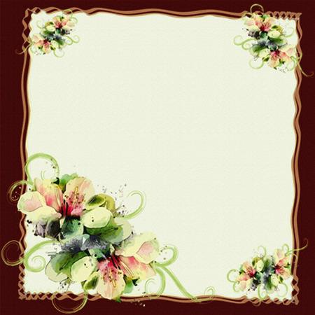 aniversario de boda: Tarjeta de felicitación floral con flores de primavera abstractas y marco ondulado