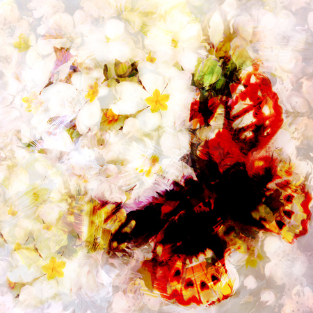 hazy: Grunge stained blurred butterfly on hazy background with white spring flowers