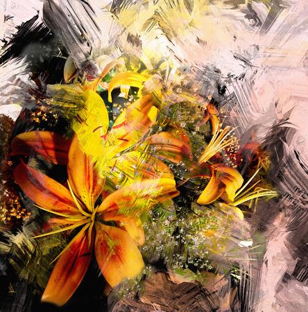 bouquet fleur: Composition abstraite Floral avec le bouquet de lys stylisée jaunes sur fond grunge rayé et taché