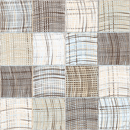 homespun: Seamless quilted pattern with grunge striped and checkered square elements in blue,beige grey colors