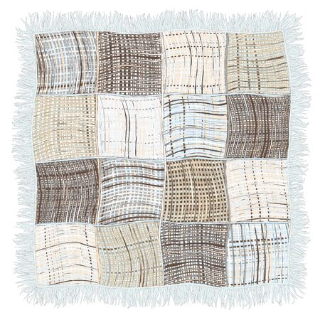 fringe: Grunge striped and checkered weave plaid with fringe in blue,beige,grey colors isolated on white background