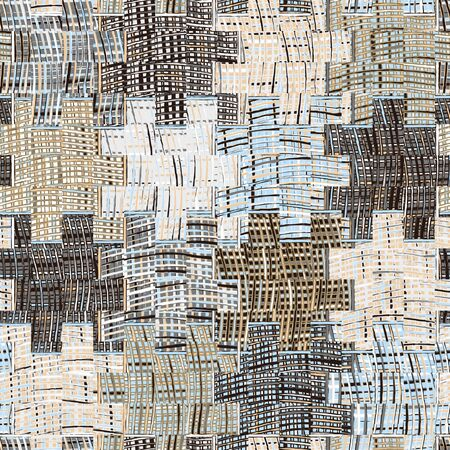 patchwork quilt: Quilted pattern with grunge striped and checkered square elements in blue,beige grey colors Stock Photo
