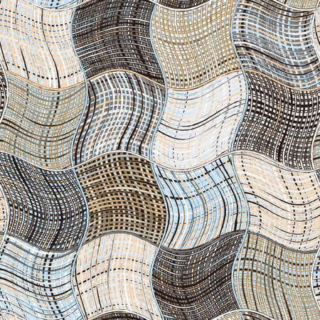 woolen cloth: Grunge striped and checkered wavy background in blue,black,beige,white colors