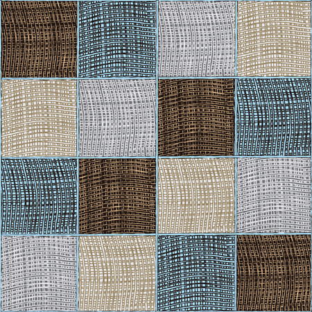 Quilt checkered weave medley composition in blue,brown,beige,grey colors
