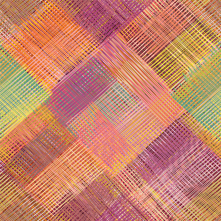 webbed: Grunge striped,diagonal,checkered,quilt, weave cloth colorful seamless pattern Illustration