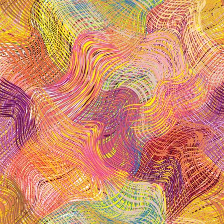 homespun: Grunge striped wavy diagonal rainbow seamless pattern Illustration