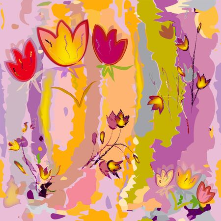 colorful grunge: Sketching stylized tulips on grunge stained colorful watercolor background