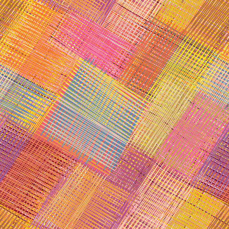 Grunge striped and checkered diagonal colorful seamless pattern