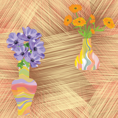 calendula flower: Vases with flowers on grunge striped background in seamless composition