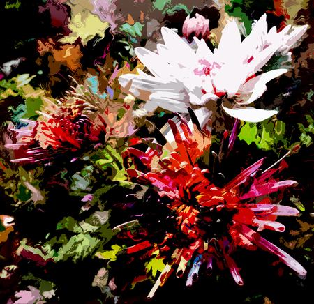 green and black: Stylized chrysanthemums on grunge stained black background