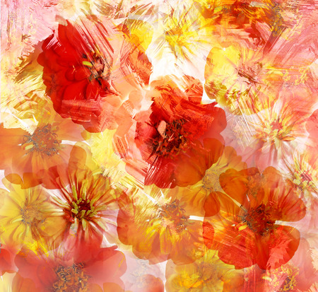 art deco: Stylized red and yellow zinnia on grunge striped blurred  background