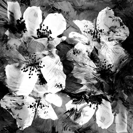 grey backgrounds: Stylized white flowers of quince on grunge striped black background