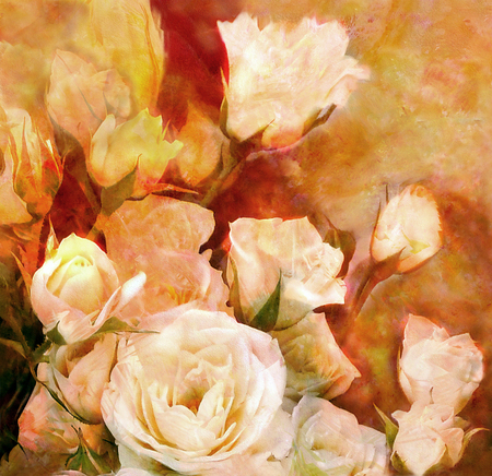 white roses: Floral aged grunge stained background with bouquet of white roses
