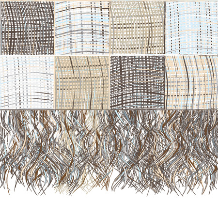 rug texture: Checkered grunge striped plaid with fringe in beige,blue,brown colors