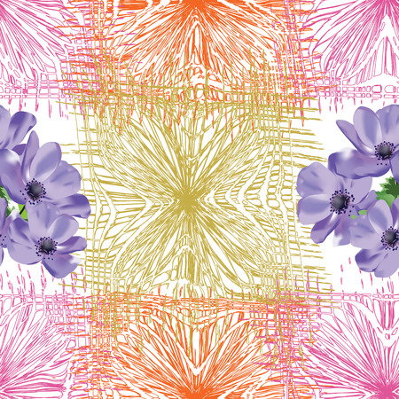 anemone: Seamless composition with blue anemone flowers on grunge striped colorful background Illustration
