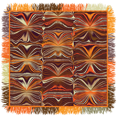rug texture: Quilt square carpet with grunge striped wavy pattern and fringe in orange,brown,beige colors