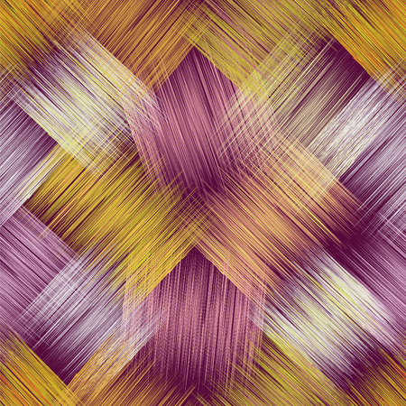 Seamless pattern with grunge diagonal striped square elements on purple background Illustration