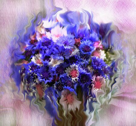 grunge floral: Floral background with stylized bouquet of cornflowers on grunge stained and striped backdrop in pastel colors Stock Photo