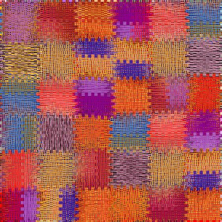 red rug: Grunge striped and checkered weave  colorful  background Stock Photo