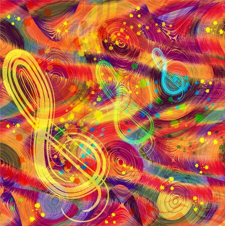 clefs: Abstract musical colorful background with rainbow disks,treble clefs and splash