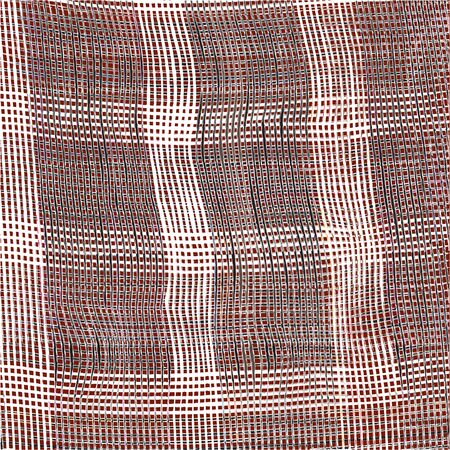 sacking: Checkered weave cloth background with grunge black and white stripes on brown backdrop