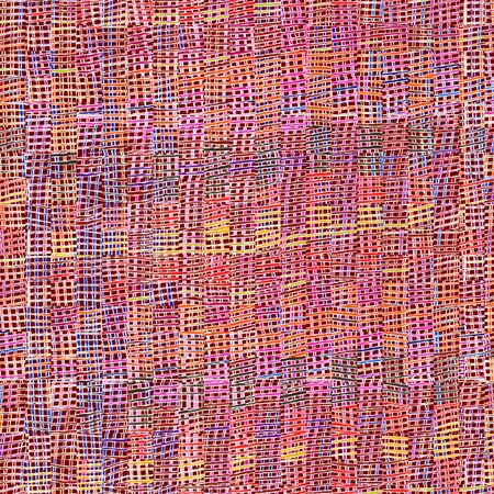 sacking: Colorful checkered cloth background with rows of grunge striped square elements Stock Photo