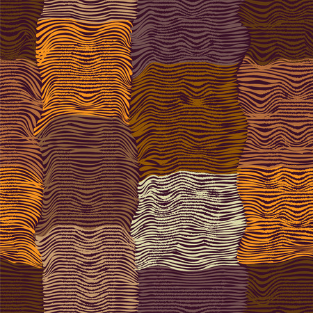 waved: Grunge striped and waved quilt cloth seamless pattern in brown,orange,violet colors