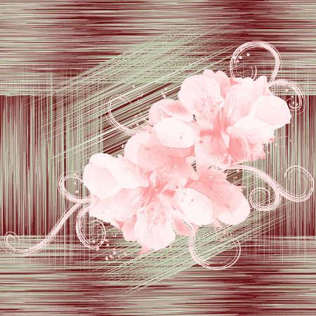 colores pastel: Patrón sin fisuras con flores abstractas en colores pastel sobre fondo grunge con rayas Vectores