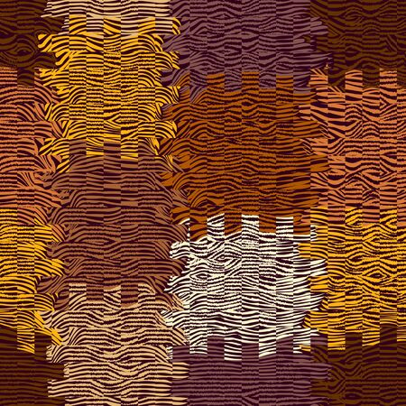 waved: Abstract cloth background with grunge striped and waved square elements in brown,viole,yellow,beige colors