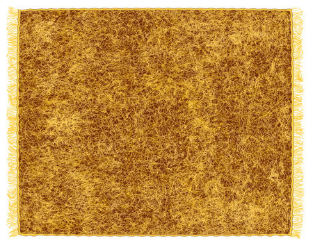 mohair: Fluffy plaid with fringe in brown ,yellow colors isolated on white background