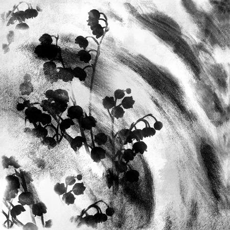 lirio blanco: Floral blanco y negro grunge a rayas y con manchas de fondo dibujar con el lirio del valle estilizada