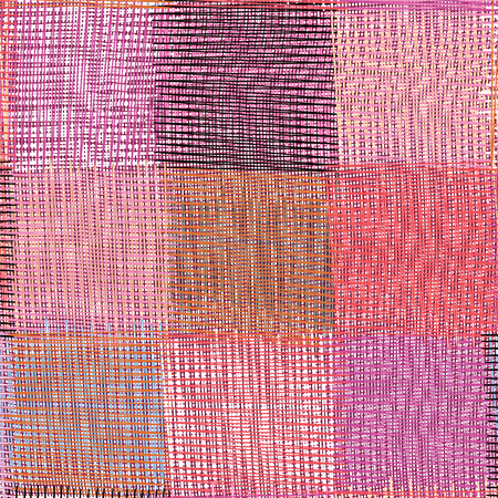 Grunge striped and checkered weave seamless pattern in violet,pink,beige,black colors