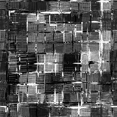 cuadros blanco y negro: grunge a rayas, patrón sin funky de dibujos animados a cuadros en blanco y negro de diseño Vectores