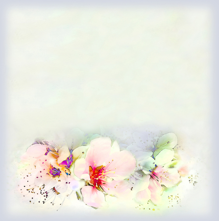vintage colors: Greeting vintage card with bright spring flowers and frame on hazed background in pastel colors Stock Photo
