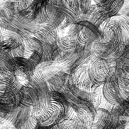 wavy: Black and white grunge striped and wavy dynamic seamless pattern