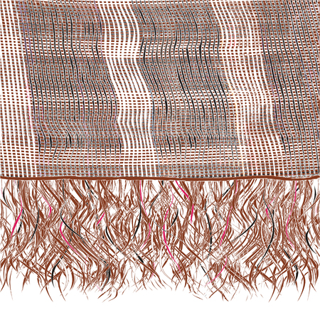 woolen cloth: Grunge striped knitted weave scarf with fringe in brown,white,black colors Illustration