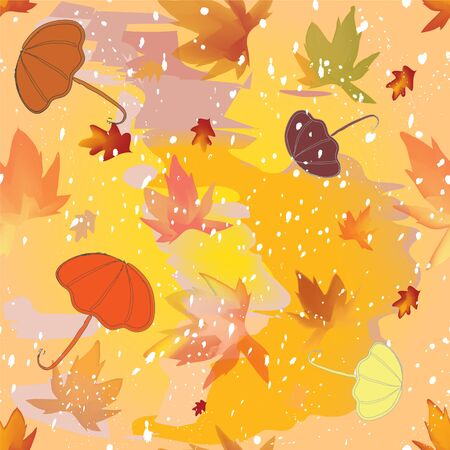 sleet: Autumnal seamless pattern with umbrellas,leafs,sleet on grunge stained colorful background