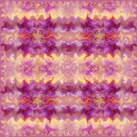 linoleum: Seamless pattern with grunge striped  wavy square elements in violet and yellow colors Illustration