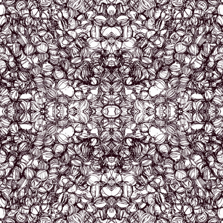 linoleum: Seamless pattern with grid of grunge striped oval elements in brown and white colors
