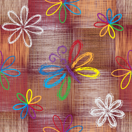 Seamless pattern with abstract rainbow butterfly and flowers on grunge striped and checkered colorful background Illustration