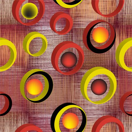 Seamless pattern with 3d rings on grunge striped and checkered colorful background