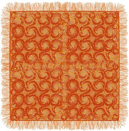 Lacy grunge a rayas y la servilleta se arremolinaba con flecos en colores marrón y amarillo aislado en el fondo blanco Ilustración de vector
