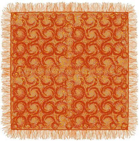 servilleta de papel: Lacy grunge a rayas y la servilleta se arremolinaba con flecos en colores marrón y amarillo aislado en el fondo blanco