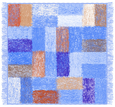 soft colors: Weave grunge striped and checkered soft plaid with fringe in blue,brown,white colors Illustration