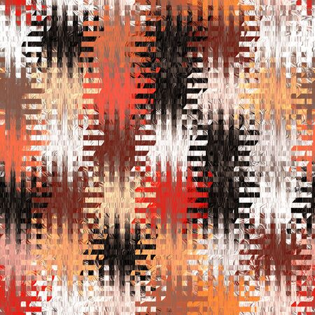 linoleum: Seamless quilted pattern with grunge striped and checkered square elements in orange,white,black,red colors